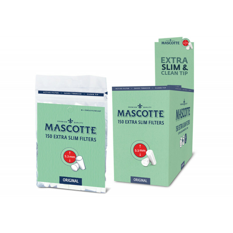 Display Mascotte Extra Slim Filters 5,3Mm 20 Bags Of 150 Pcs