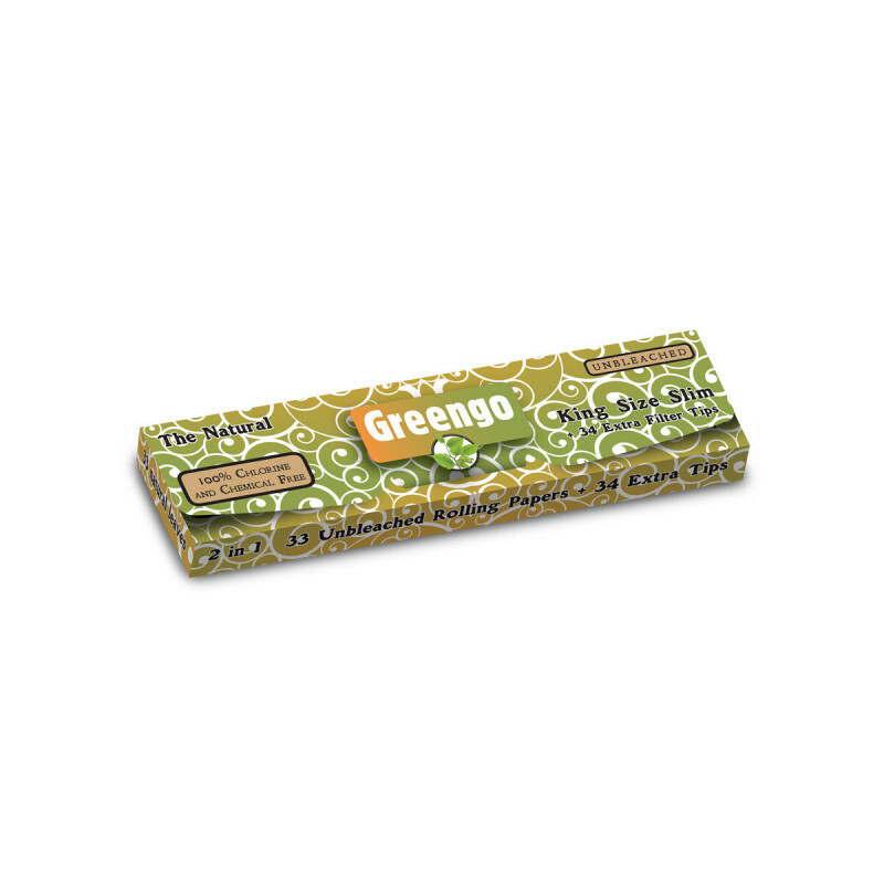 Greengo 2 In 1 Unbleached King Size Slim Papers 1 Pack