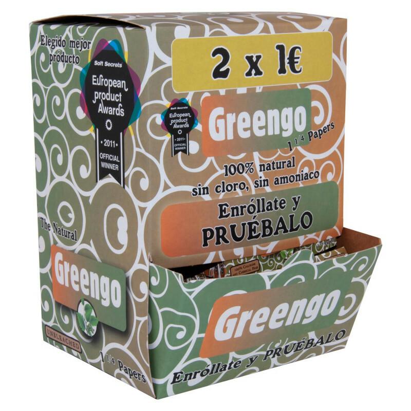 Display 100 pcs greengo unbleached 1 1/4 papers es