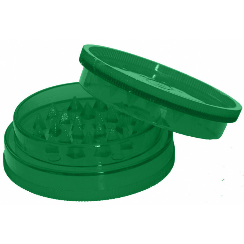 Acrylic grinder with stash compartment green