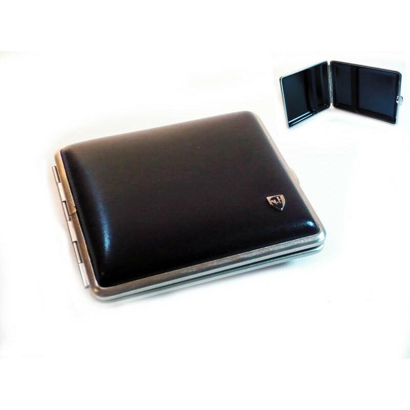 Cigarette Case 18 Cig Leather Black