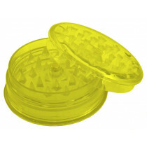 Acrylic super grinder with stash compartment yellow