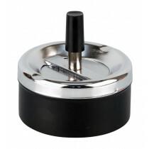 Spinning Ashtray Chrome Black 9 Cm