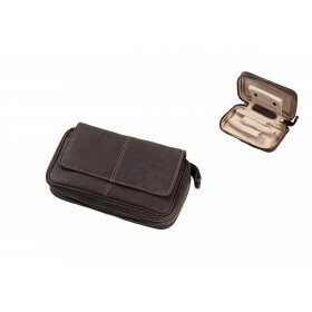 Leather Pipe Etui For 3 Pipes Brown