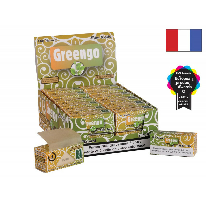 French Display Greengo Unbleached Slim Rolls 44 Mm 24 Pcs
