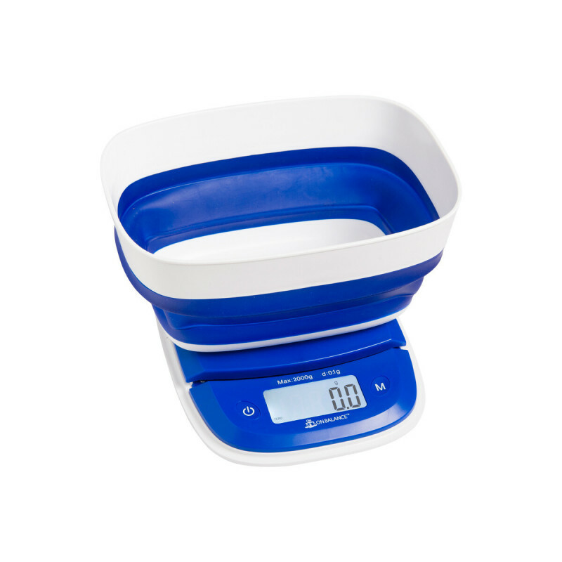 Washable Fold-A-Bowl Kitchen Scale Blue White 2000X0,1Gr