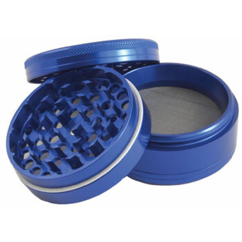 Aluminium grinder 4 parts 62 mm blue