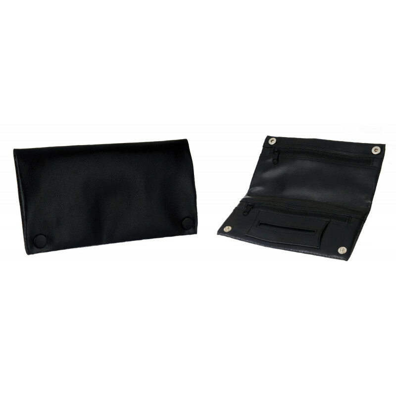 Leather Look Tobacco Pouch 2 Zippers Black