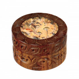 Rosewood Metal Box Ohm Carved Stone Mix 50 Mm 2 Parts