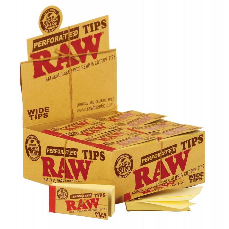Display Raw Wide Tips Hemp Cotton 25Mm 50 Tips 50 Pcs