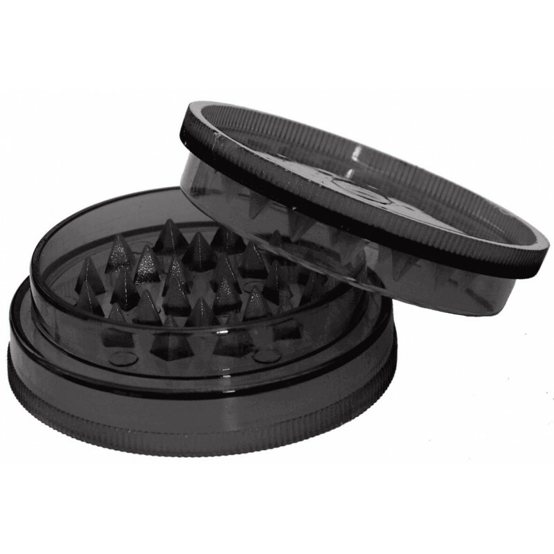 Acrylic grinder with stash compartment black