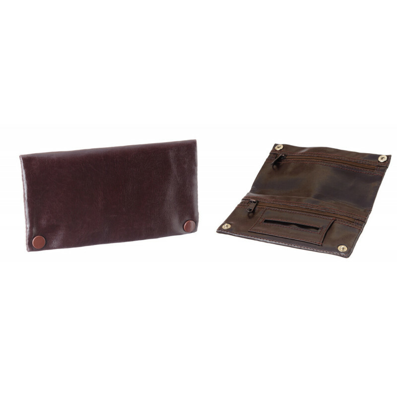 Leather Look Tobacco Pouch 2 Zippers Dark Brown