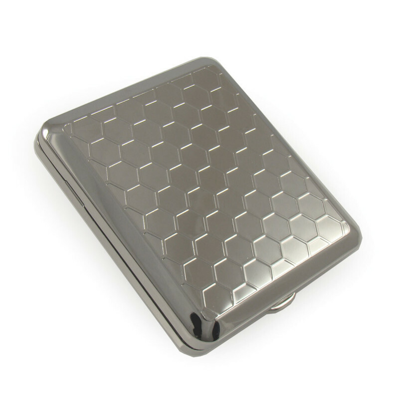Angelo 18 cigarettes case chrome honeycomb rubber