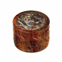 Rosewood Metal Box Ohm Carved Stone Mix 40 Mm 2 Parts