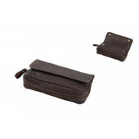 Leather Pipe Etui For 2 Pipes Brown