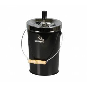 Bucket Spinning Ashtray Chrome/Black 14 Cm